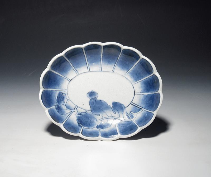 古伊万里 元禄染付 葉文 楕円型小皿【元禄】