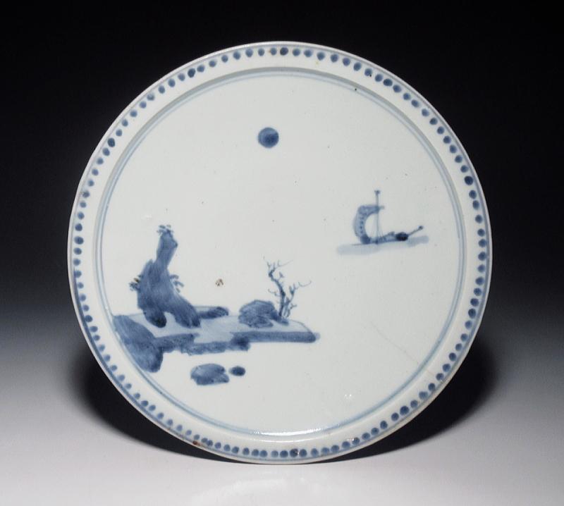 初期伊万里 染付 月夜の山水文 七寸皿【寛永】